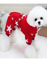 Недорогие -Собаки Коты Комбинезоны Одежда для собак Звезды Красный Синий Хлопок Костюм Назначение Гончая Пудель Померанский шпиц Зима Универсальные На каждый день Сохраняет тепло