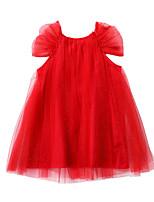 Недорогие -Дети Девочки Классический / Симпатичные Стиль Однотонный Сетка С короткими рукавами Выше колена Хлопок / Полиэстер Платье Красный