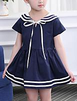 cheap -Kids Girls' Cute Street chic Patchwork Patchwork Short Sleeve Dress White
