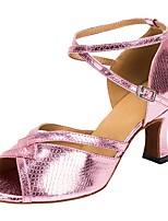 Недорогие -Жен. Обувь для латины Искусственная кожа На каблуках Планка Толстая каблук Персонализируемая Танцевальная обувь Розовый