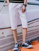 Недорогие -Муж. Кулиска Сплетенные брюки Военно-зеленный Серый Со стразами Виды спорта Сплошной цвет Хлопок Брюки Нижняя часть Фитнес Бег Тренировка в тренажерном зале Большие размеры Спортивная одежда