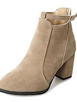 Недорогие -Жен. Полиуретан Осень Ботинки На толстом каблуке Ботинки Черный / Коричневый / Хаки