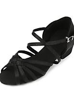 Недорогие -Девочки Обувь для латины Сатин На каблуках Толстая каблук Танцевальная обувь Черный / Синий