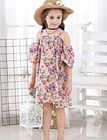 Недорогие -Дети Девочки Классический Цветочный принт С принтом С короткими рукавами До колена Полиэстер Платье Розовый
