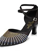 Недорогие -Жен. Обувь для модерна Сатин На каблуках Стразы Кубинский каблук Персонализируемая Танцевальная обувь Черный