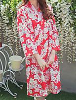Недорогие -Взрослые Жен. Кимоно Кимоно Jinbei Махровый халат Назначение Halloween На каждый день фестиваль Хлопок кимоно Пальто