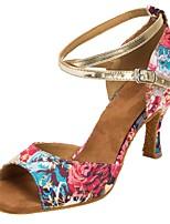 Недорогие -Жен. Обувь для латины Сатин На каблуках Цветы Тонкий высокий каблук Персонализируемая Танцевальная обувь Розовый
