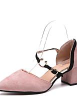 Недорогие -Жен. Полиуретан Весна Минимализм Обувь на каблуках На толстом каблуке Заостренный носок Черный / Розовый