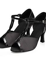 Недорогие -Жен. Обувь для латины Сатин На каблуках Планка Тонкий высокий каблук Персонализируемая Танцевальная обувь Черный
