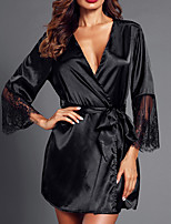 cheap -Women's Backless / Cut Out / Mesh Suits Nightwear Solid Colored Black White S M L