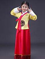 Недорогие -Ханбок девушка Детские Девочки азиатский Традиционный корейский ханбок магоджа Назначение Выступление Помолвка Девичник Полиэстер Длинный Юбки