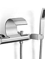 Недорогие -Ванная раковина кран - Водопад / Дождевая лейка / Ручная лейка входит в комплект Хром На стену Две ручки двумя отверстиямиBath Taps