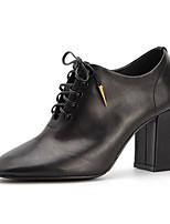 Недорогие -Жен. Наппа Leather Наступила зима Ботинки На толстом каблуке Ботинки Черный / Бежевый