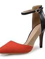 Недорогие -Жен. Замша / Искусственная кожа Весна лето Милая Обувь на каблуках На шпильке Заостренный носок Оранжевый и черный / Контрастных цветов