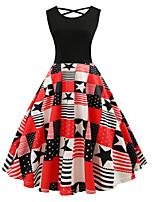 Недорогие -женское платье свинг длиной до колен красный черный s m l xl