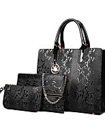 cheap -Women's Zipper PU Bag Set Solid Color 3 Pcs Purse Set Black / Brown / Blue / Snakeskin