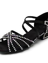Недорогие -Жен. Обувь для латины Сатин На каблуках Стразы Толстая каблук Персонализируемая Танцевальная обувь Черный / Коричневый