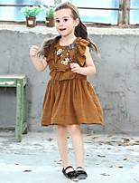 Недорогие -Дети Девочки Цветочный принт Полиэстер Платье Коричневый