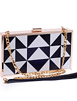 cheap -Women's Chain Acrylic / Polyester Evening Bag Geometric Pattern Black