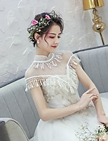 cheap -Sleeveless Tulle Wedding / Party / Evening Women's Wrap With Flower Comb / Tassel Capelets