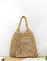 cheap -Women's Hollow-out Straw Top Handle Bag Solid Color Black / Brown / White