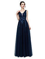 cheap -A-Line Beautiful Back Floral Engagement Formal Evening Dress V Neck Sleeveless Floor Length Tulle with Sash / Ribbon Bow(s) Beading 2020