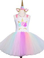 cheap -Princess Unicorn Dress Girls' Movie Cosplay Halloween Christmas White Dress Headwear Christmas Halloween Polyester