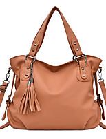 cheap -Women's Zipper / Tassel PU Top Handle Bag Solid Color Black / Brown / Blue