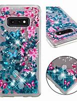 Недорогие -Кейс для Назначение SSamsung Galaxy S9 / S9 Plus / S8 Plus Защита от удара / Движущаяся жидкость / Прозрачный Кейс на заднюю панель Сияние и блеск / Цветы Мягкий ТПУ