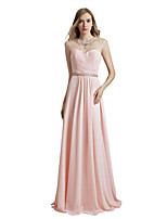 cheap -A-Line Elegant Luxurious Engagement Formal Evening Dress Illusion Neck Sleeveless Floor Length Chiffon with Sash / Ribbon Pleats Beading 2020