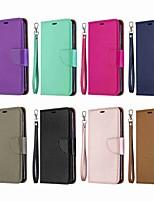 Недорогие -Кейс для Назначение SSamsung Galaxy S9 / S9 Plus / Galaxy S10 Кошелек / Бумажник для карт / со стендом Чехол Однотонный Твердый Кожа PU