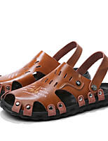 cheap -Men's Summer Casual Daily Sandals Walking Shoes Cowhide Breathable Light Brown / Dark Brown / Black