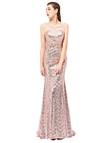 cheap -Mermaid / Trumpet Floral Sparkle Wedding Guest Formal Evening Dress Illusion Neck Sleeveless Sweep / Brush Train Sequined with Crystals Appliques 2020