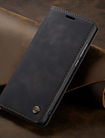 Недорогие -Кейс для Назначение Huawei Huawei Enjoy 7S Кошелек / Бумажник для карт / Защита от удара Чехол Однотонный Твердый Кожа PU