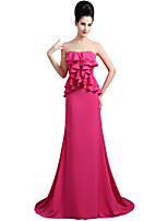 cheap -Mermaid / Trumpet Elegant Empire Engagement Formal Evening Dress Sweetheart Neckline Sleeveless Court Train Chiffon with Ruffles 2020