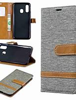 Недорогие -Кейс для Назначение SSamsung Galaxy A6 (2018) / A6+ (2018) / Galaxy A7(2018) Кошелек / Бумажник для карт / со стендом Чехол Плитка Твердый текстильный