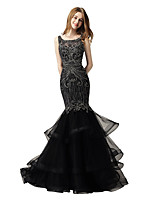 cheap -Mermaid / Trumpet Luxurious Sparkle Prom Formal Evening Dress Jewel Neck Sleeveless Court Train Lace Tulle with Beading Tier 2020