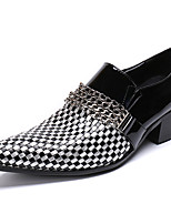 cheap -Men's Leather Shoes Nappa Leather Spring & Summer / Fall & Winter Casual / British Loafers & Slip-Ons Non-slipping Black / Party & Evening