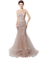 cheap -Mermaid / Trumpet Elegant Luxurious Engagement Formal Evening Dress Jewel Neck Sleeveless Court Train Tulle with Crystals Beading Sequin 2020