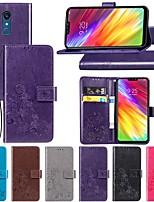 Недорогие -Кейс для Назначение LG LG Q Stylus / LG X Power3 / LG V40 Кошелек / со стендом / Флип Чехол Однотонный / Бабочка / Цветы Твердый Кожа PU