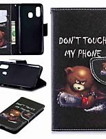 Недорогие -Кейс для Назначение SSamsung Galaxy A6 (2018) / A6+ (2018) / Galaxy A7(2018) Кошелек / Бумажник для карт / со стендом Чехол Бабочка / Животное / Цветы Твердый Кожа PU