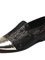 cheap -Men's Formal Shoes Synthetics Spring / Fall & Winter Casual / British Loafers & Slip-Ons Non-slipping Black / Gold