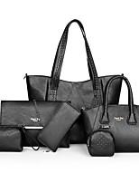 cheap -Women's Zipper PU Bag Set Solid Color 6 Pieces Purse Set Black / Brown / Blushing Pink