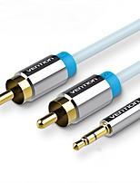 Недорогие -VENTION 3,5 мм аудио разъем Кабель / Кабель-переходник, 3,5 мм аудио разъем к 2RCA Кабель / Кабель-переходник Male - Male Позолоченная медь 3.0M (10Ft)