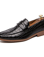cheap -Men's Spring / Summer Casual / British Wedding Party & Evening Loafers & Slip-Ons Walking Shoes Faux Leather Non-slipping Wear Proof Light Brown / Black