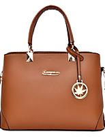 cheap -Women's Zipper PU Top Handle Bag Solid Color Black / Brown / Blushing Pink