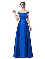 cheap -A-Line Elegant Minimalist Wedding Guest Formal Evening Dress Off Shoulder Short Sleeve Floor Length Satin with Sleek 2020