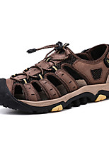 cheap -Men's Fall / Spring & Summer Casual Daily Outdoor Sandals Nappa Leather Breathable Non-slipping Shock Absorbing Dark Brown / Black / Khaki