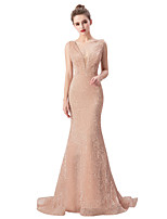 cheap -Mermaid / Trumpet Beautiful Back Sparkle Engagement Formal Evening Dress V Neck Sleeveless Sweep / Brush Train Sequined with Sequin 2020