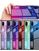 Недорогие -Кейс для Назначение Xiaomi Xiaomi Redmi 6 Pro / Xiaomi Redmi Note 7 / Xiaomi Redmi 7 Защита от удара Кейс на заднюю панель Градиент цвета Твердый Закаленное стекло